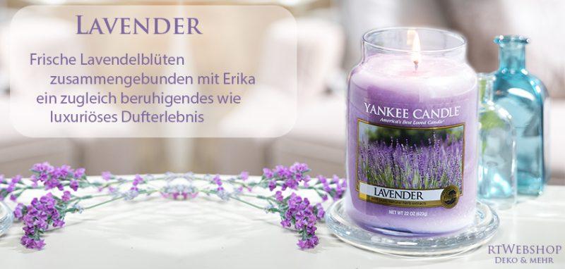 Yankee Candle Lavender - frische Lavendelblüten zusammengebunden mit Erika – ein zugleich beruhigendes wie luxuriöses Dufterlebnis.