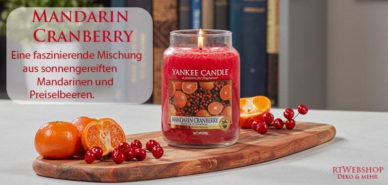 Yankee Candle Mandarin Cranberry - eine faszinierende Mischung aus sonnengereiften Mandarinen und Preiselbeeren.