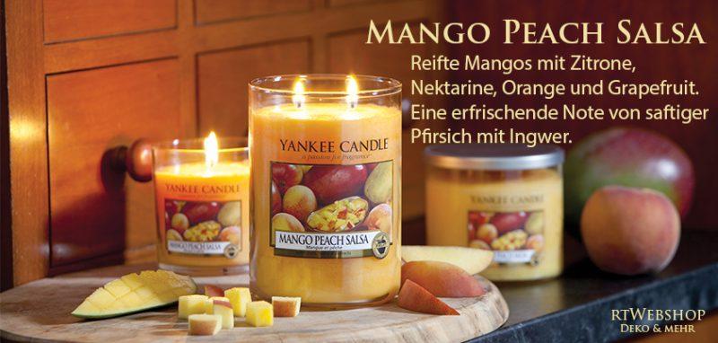 Yankee Candle Mango Peach Salsa - gereifte Mangos gemischt mit Zitrone, Nektarine, Orange und Grapefruit. Eine erfrischende Note von saftiger Pfirsich mit Ingwer.