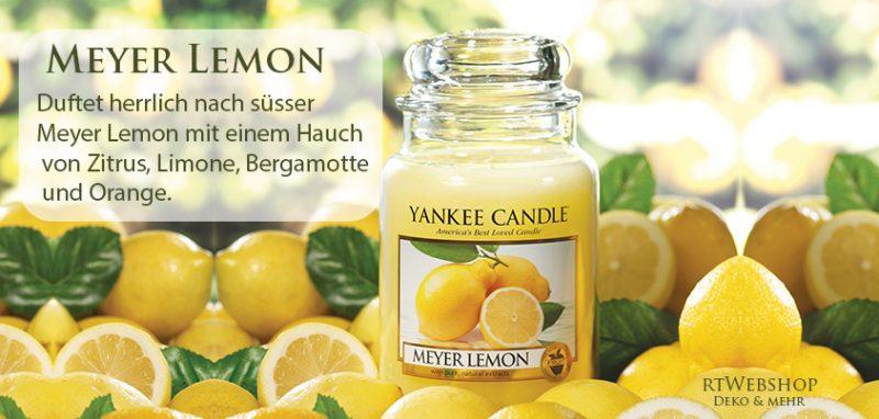 Yankee Candle Meyer Lemon - duftet herrlich nach süsser Meyer Lemon mit einem Hauch von Zitrus, Limone, Bergamotte und Orange.