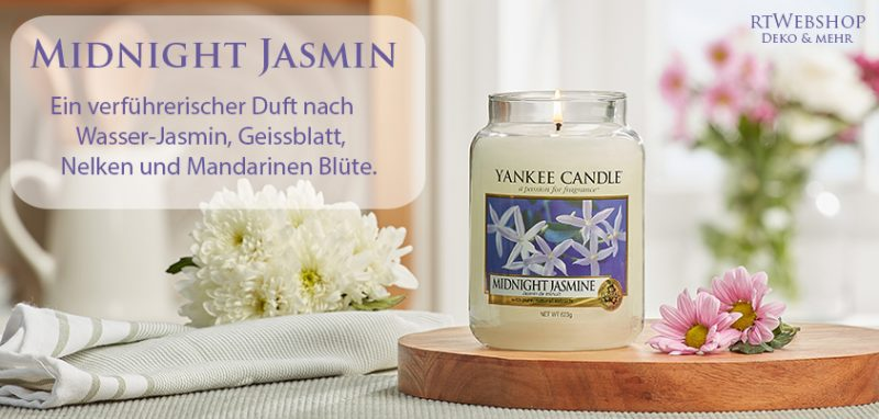 Yankee Candle Midnight Jasmin - ein verführerischer Duft nach Wasser-Jasmin, Geissblatt, Nelken und Mandarinen Blüte.
