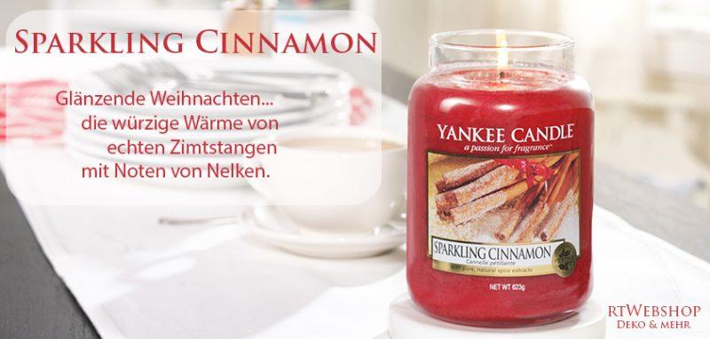 Yankee Candle Sparkling Cinnamon - glänzende Weihnachten... die würzige Wärme von echten Zimtstangen mit Noten von Nelken.