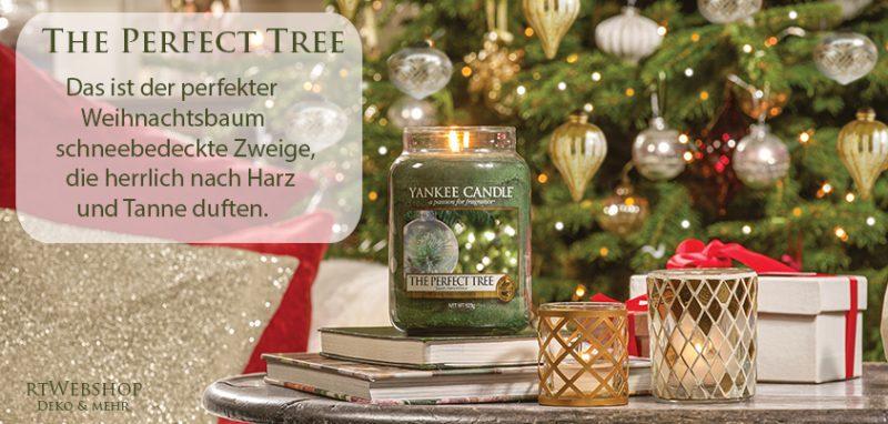 Yankee Candle The Perfect Tree - das ist dein perfekter Weihnachtsbaum - schneebedeckte Zweige, die herrlich nach Harz und Tanne duften.