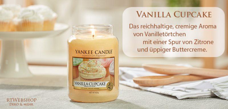 Yankee Candle Vanilla Cupcake - das reichhaltige, cremige Aroma von Vanilletörtchen mit einer Spur von Zitrone und üppiger Buttercreme.