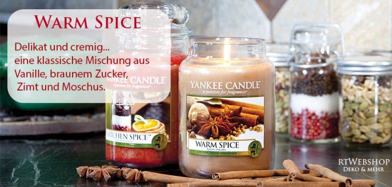 Yankee Candle Warm Spice - delikat und cremig... eine klassische Mischung aus Vanille, braunem Zucker, Zimt und Moschus.