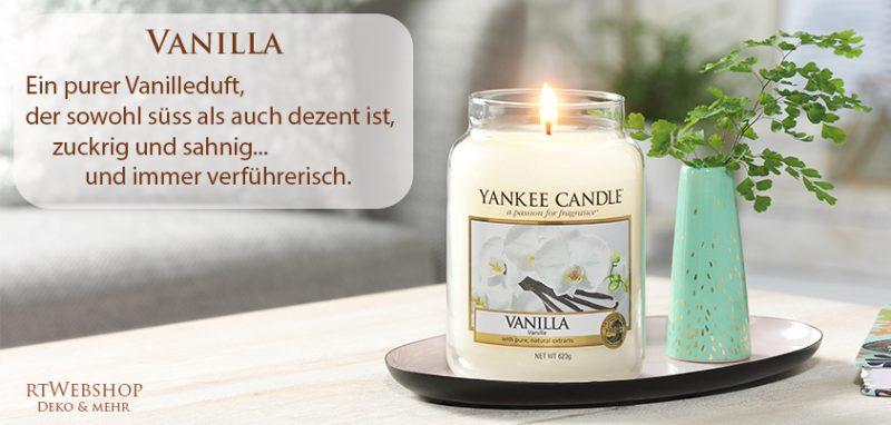 Yankee Candle Vanilla - ein purer Vanilleduft, der sowohl süss als auch dezent ist, zuckrig und sahnig ... und immer verführerisch.