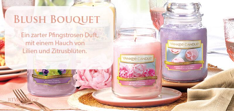 Yankee Candle Blush Bouquet ist ein zarter Pfingstrosen Duft, mit einem Hauch von Lilien und Zitrusblüten, jetzt bei rtWebshop Deko & mehr