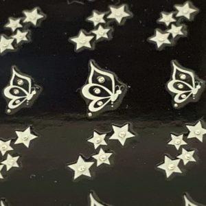 Profi NailArt Sticker - Schmetterlinge mit Sternen und Glitzersteinchen.