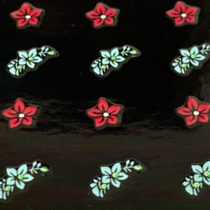 Profi NailArt Sticker - Blumenmuster mit kleinen Glitzersteinchen.