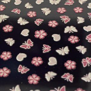 Profi NailArt Sticker - Rosa Schmetterlinge, Blumen und Herzchen.