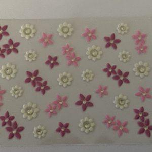 Profi NailArt Sticker - Weisse und Rosa Blumen mit Glitzersteinchen.