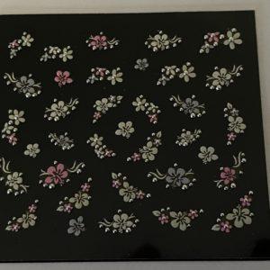 Profi NailArt Sticker - Blumenornamente mit Glitzersteinchen.