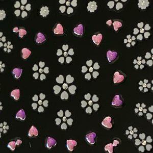 Profi NailArt Sticker - Blumenornamente mit Herzchen und Glitzersteinchen.