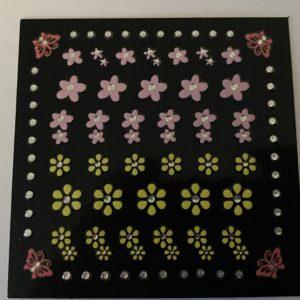 Profi NailArt Sticker - Blumenornamente mit Schmetterlingen und Steinchen.