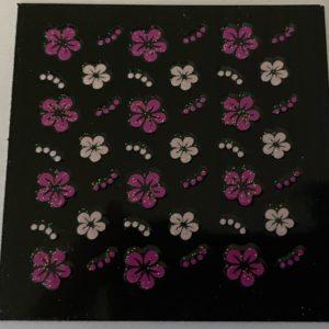 Profi NailArt Sticker - Blumenornamente mit Glitzer.