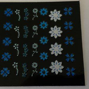 Profi NailArt Sticker – Blumenornamente mit Glitzer.