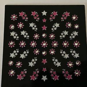 Profi NailArt Sticker - Sterne mit Blumen und Steinchen.