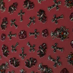 Profi NailArt Sticker - Tolle Gothic Elemente mit Kreuz und Rosen.