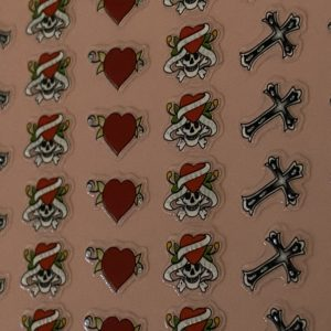 Profi NailArt Sticker - Tolle Gothic Elemente mit Kreuz, Totenkopf und Rosen.