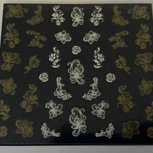 Profi NailArt Sticker - Tolle Blumenornamente in Gold und Silber.