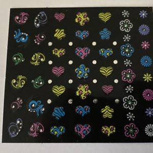 Profi NailArt Sticker - Tolle Neon-Sticker mit bunten Blumen und Herzen mit Steinchen.